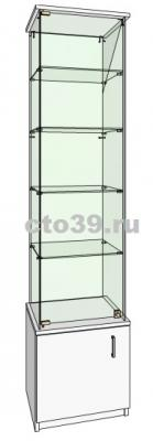 витрина стеклянная с запасником вт-34504