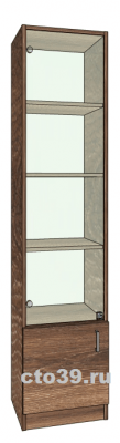 витрина стеклянная односекционная с полками из лдсп вс-614503