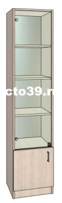 витрина стеклянная односекционная с зеркалом и полками из лдсп вс-64503