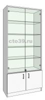 Витрина стеклянная со стеклянными полками ВС-518904
