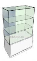 Витрина стеклянная островная с зеркальными дверями ВТ-68903