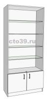 Витрина стеклянная со стеклянными полками ВС-558904