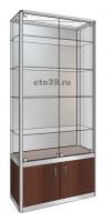 Витрина стеклянная в алюминиевом профиле ВА-290043, задняя стенка-зеркало