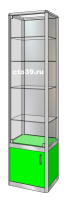 Витрина стеклянная в алюминиевом профиле ВА-145043, задняя стенка-зеркало