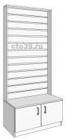 Стойка с экономпанелью пристенная с тумбой  СП-1412002, размеры: 210х120 см