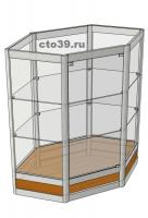 Прилавок стеклянный в алюминиевом профиле ПА-39003, угловой
