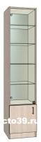 Витрина стеклянная односекционная с зеркалом и полками из стекла ВС-74504